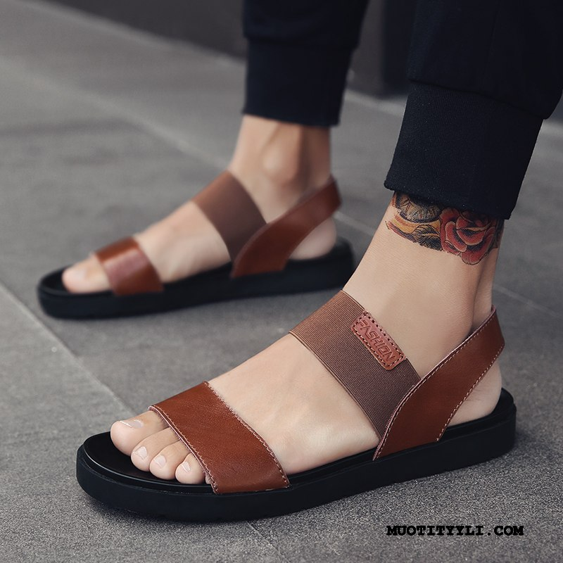 Miesten Sandaalit Halvat Rooma Suuntaus Kengät Kesä Liukumaton Ruskea