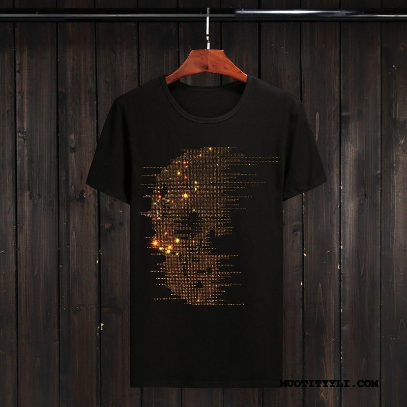 Miesten T-paidat Halpa Löysät Lyhythihainen Rasvainen Puoli Hiha Kesä Musta