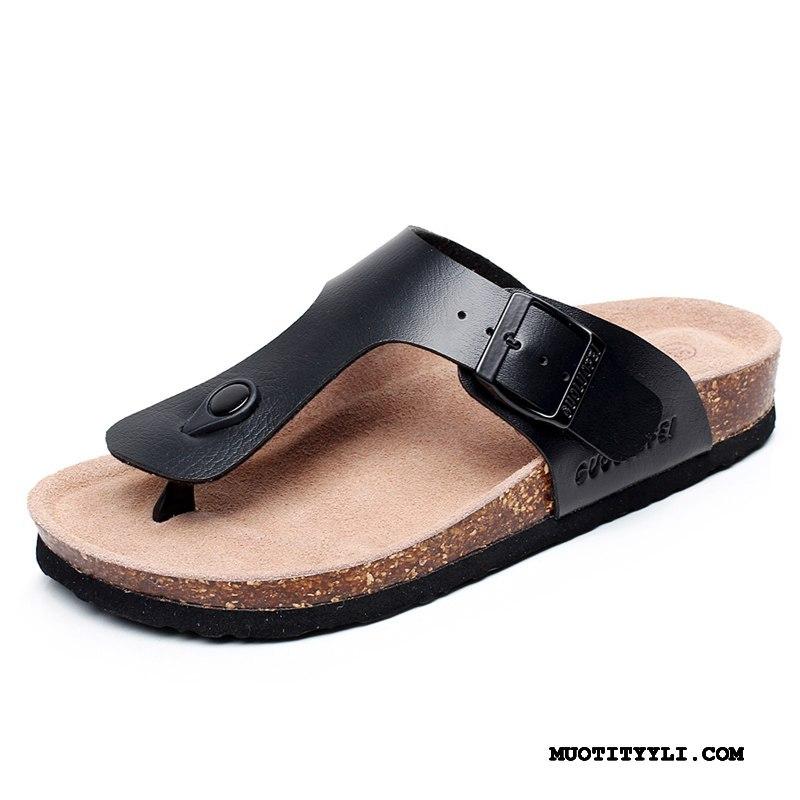 Miesten Varvassandaalit Osta Litteät Kengät Kesä Miehille Liukumaton Musta