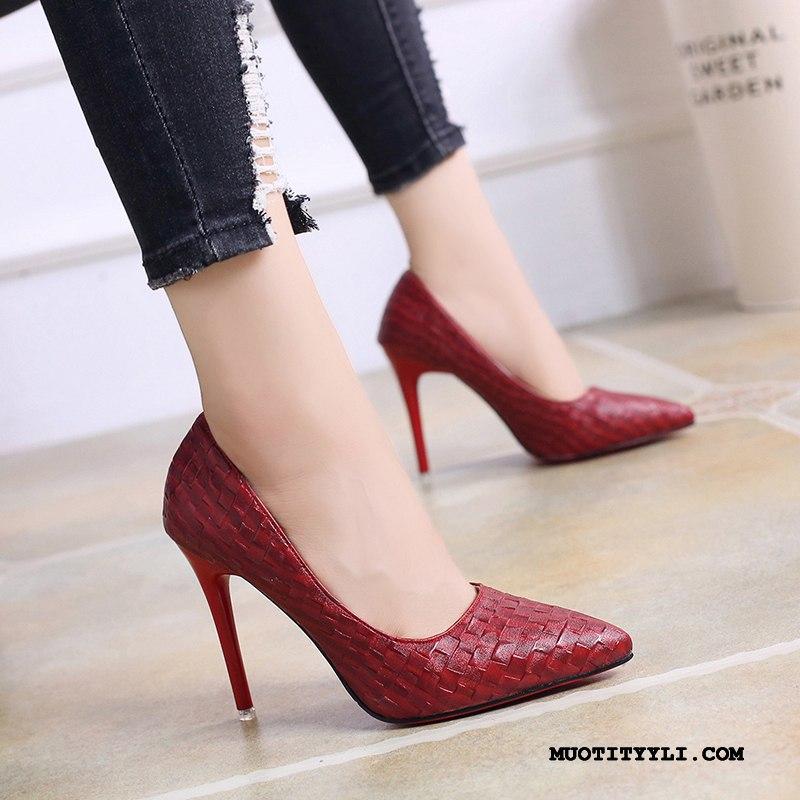 Naisten Avokkaat Alennus Kengät Derbies Kevät Vedenpitävä Alusta Suuntaus Musta Punainen