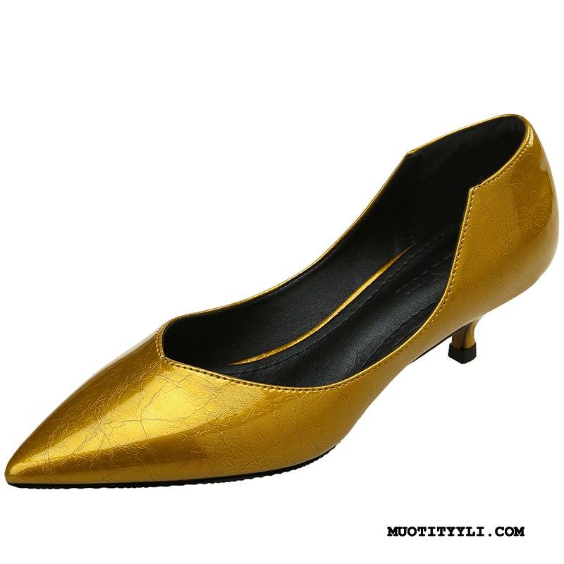 Naisten Avokkaat Osta Kesä Ohut Kengät Naisille Derbies Hopea Vaalean Kultainen