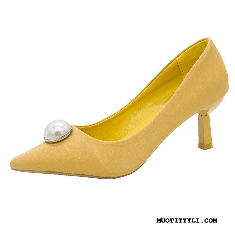 Naisten Avokkaat Osta Terävä Kohta Kengät Korko Naisille Business Vaalean Keltainen Punainen