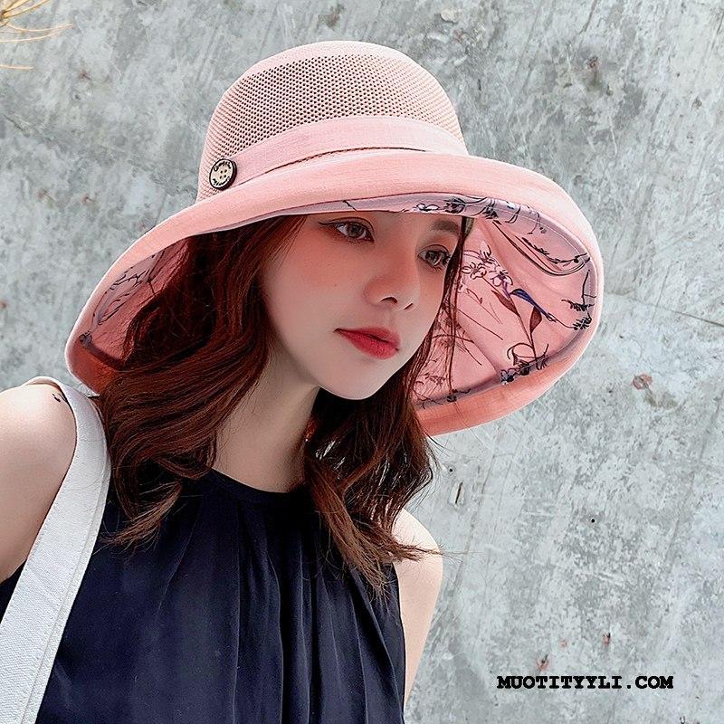 Naisten Hattu Kauppa Hengittävä Mesh Suuri Shade Aurinkovoiteet Pinkki Musta Punainen