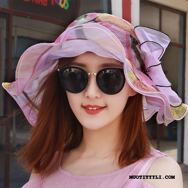 Naisten Hattu Verkossa Perhonen Sifonki Valo Aurinkohattu Aurinkovoiteet Pinkki