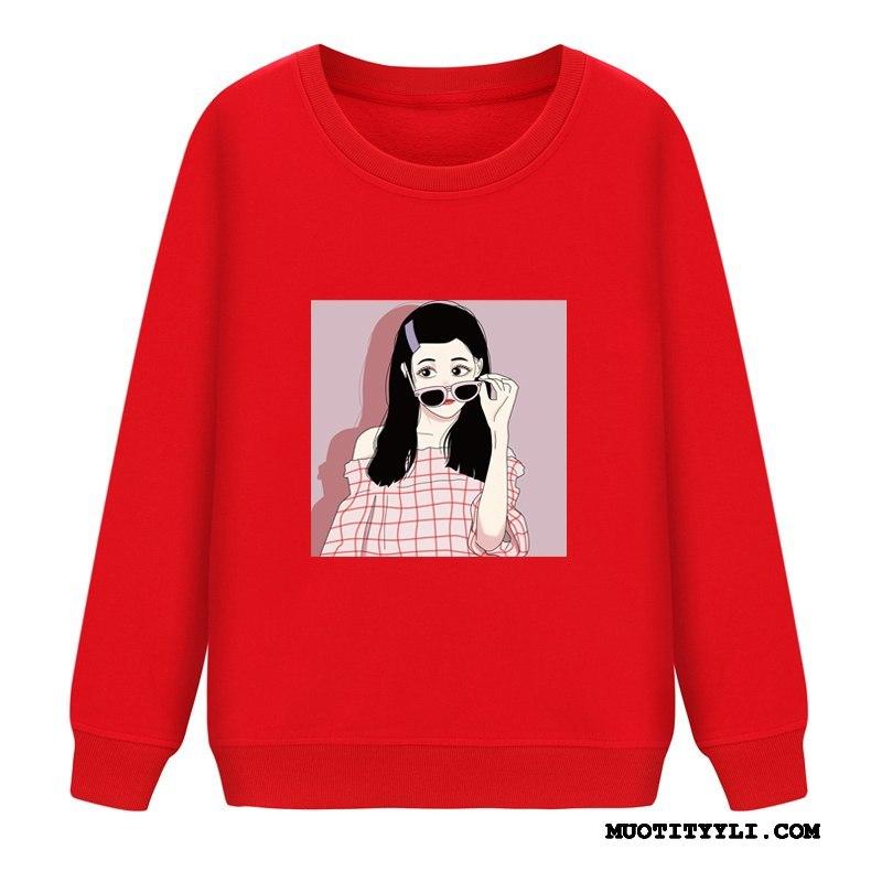 Naisten Huppari Halpa Kevät Casual Hupparit Pullover Löysät Punainen