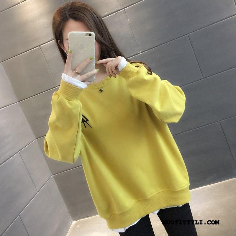 Naisten Huppari Osta Ohut Löysät Pullover Kevät Uusi Keltainen