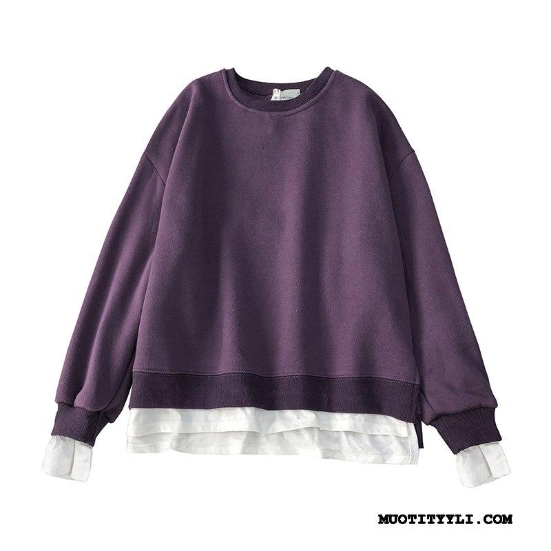 Naisten Huppari Verkossa Hupparit Liitos Naisille Löysät Pullover Puhdas Violetti Valkoinen