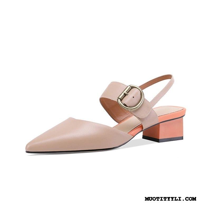 Naisten Sandaalit Halvat Paksu Kengät Nainen Rooma 2019 Khaki