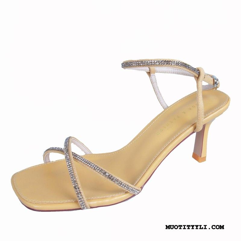 Naisten Sandaalit Kauppa Kesä Seksikäs Avoin Ohut Korko Keltainen