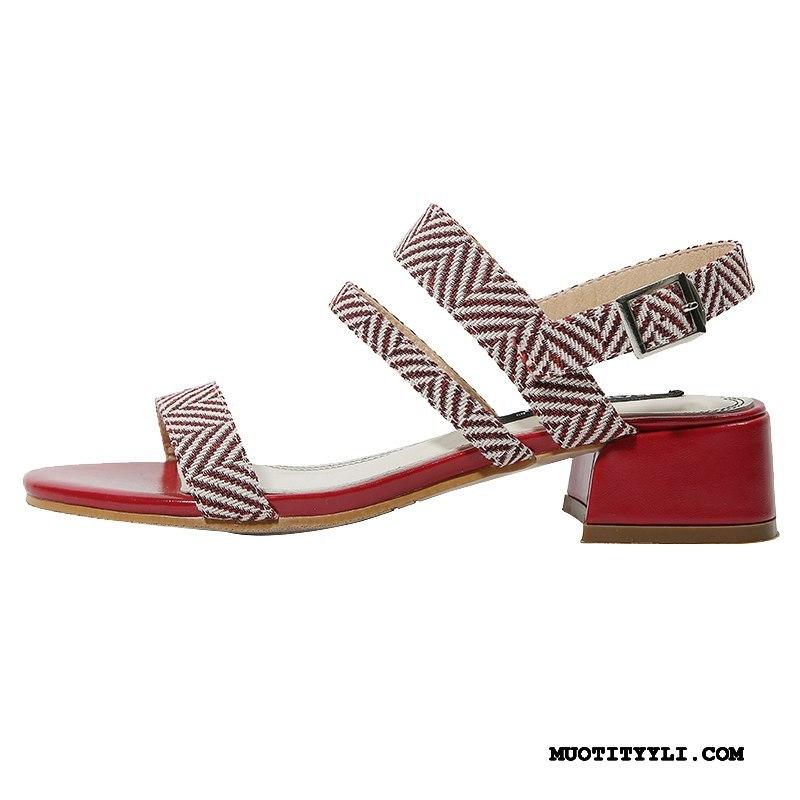 Naisten Sandaalit Myynti Kengät Kaikki Ottelut Naisille Rooma Paksu Punainen