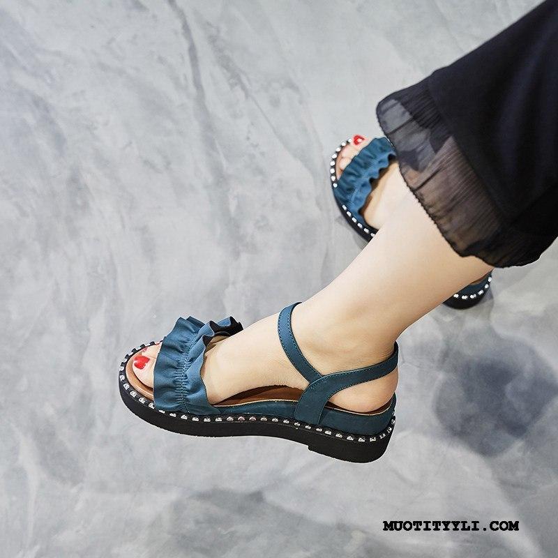 Naisten Sandaalit Myynti Kesä Kiilakorkokengät Naisille Paksu Pohja Lisääntynyt Punainen