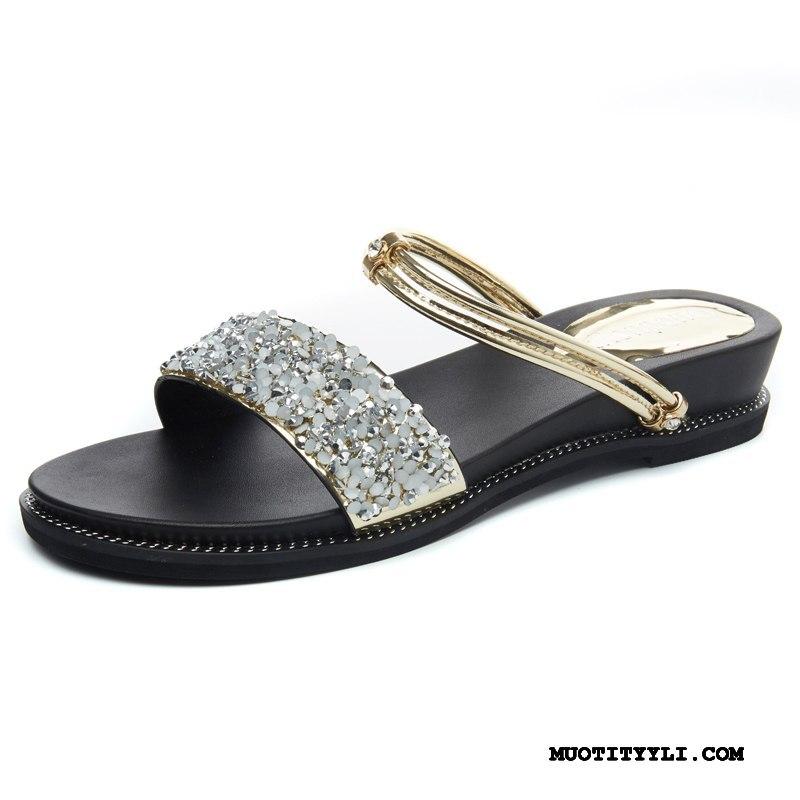 Naisten Sandaalit Myynti Rooma Kesä Pehmeä Pohja Kengät Kiilakorkokengät Kultainen