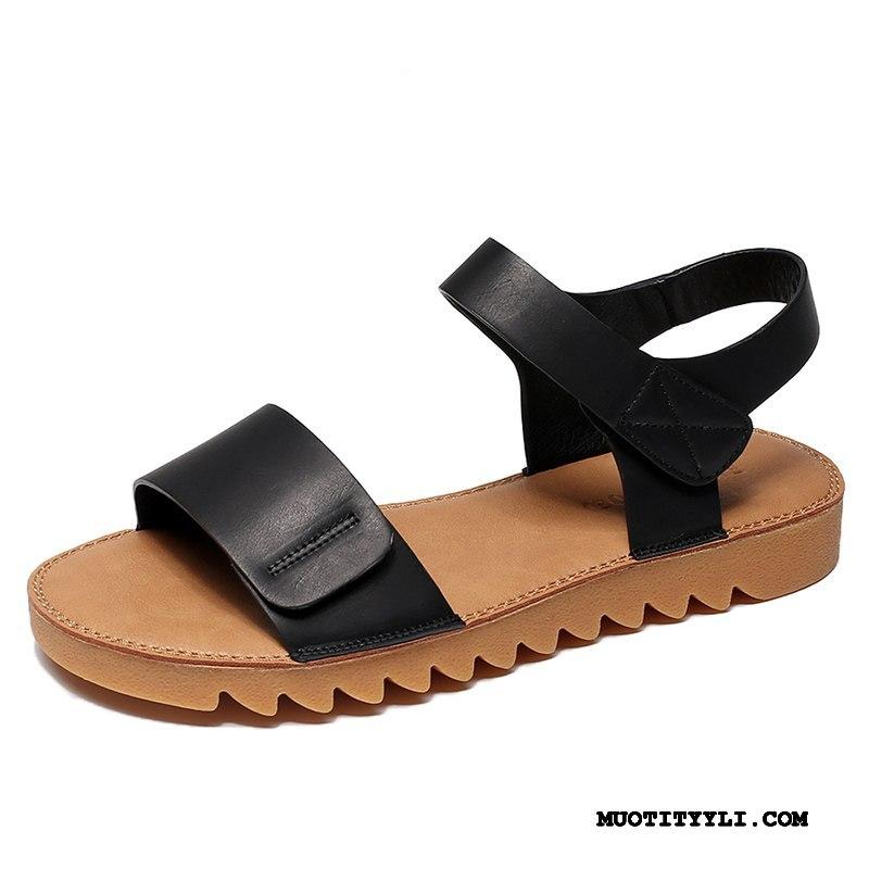 Naisten Sandaalit Osta Litteät Kengät Opiskelija Kevät 2019 Pehmeä Pohja Musta Punainen