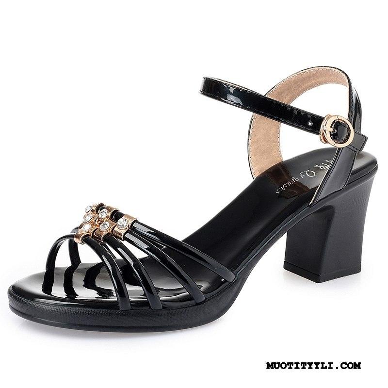 Naisten Sandaalit Verkossa Patent Leather Avoin Naisille Kesä Strassi Hopea Musta Kultainen