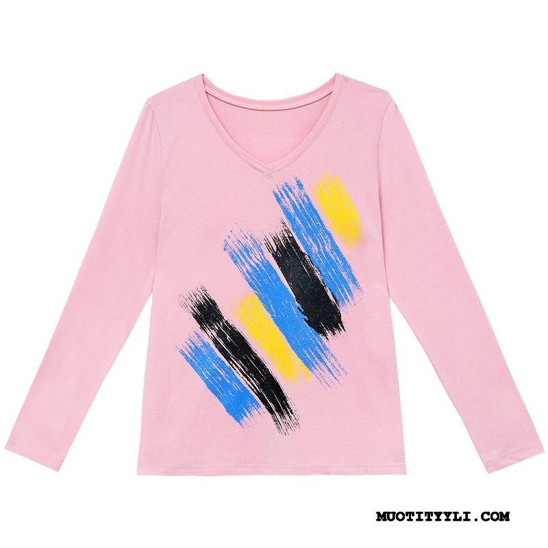 Naisten T-paidat Myynti V Kaula Aluspaita Naisille Kevät T-paita Pinkki Punainen