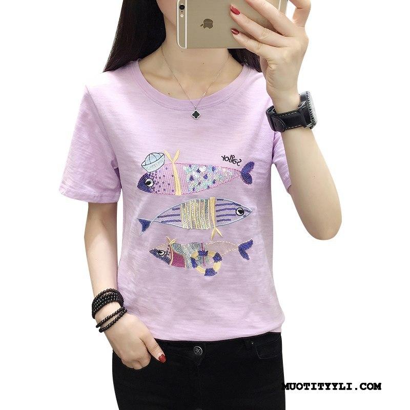Naisten T-paidat Osta Uusi Kesä Löysät Lyhythihainen Suuri Koko Violetti Valkoinen