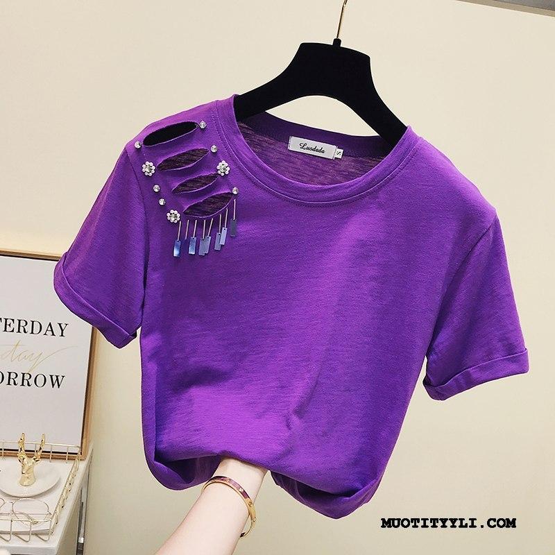 Naisten T-paidat Verkossa Uusi Muoti Reiät Naisille Lyhythihainen Violetti