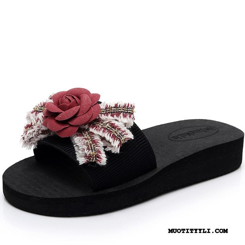Naisten Tohvelit Netistä Kesä Tasainen Sandaalit Muoti Kaikki Ottelut Musta Punainen