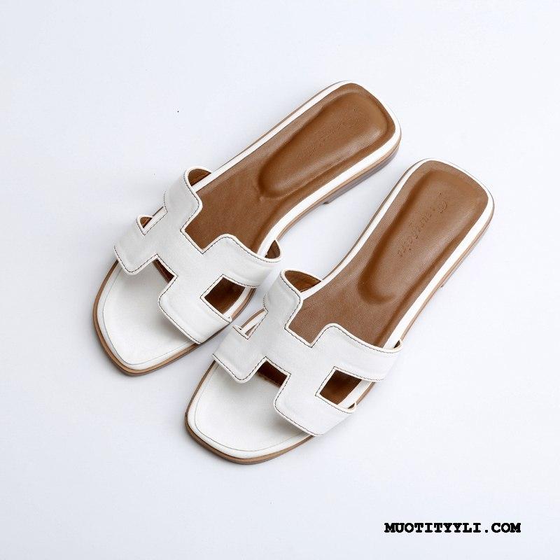 Naisten Tohvelit Verkossa Kengät Sandaalit Kevät Tasainen Lammasturkki Valkoinen Punainen