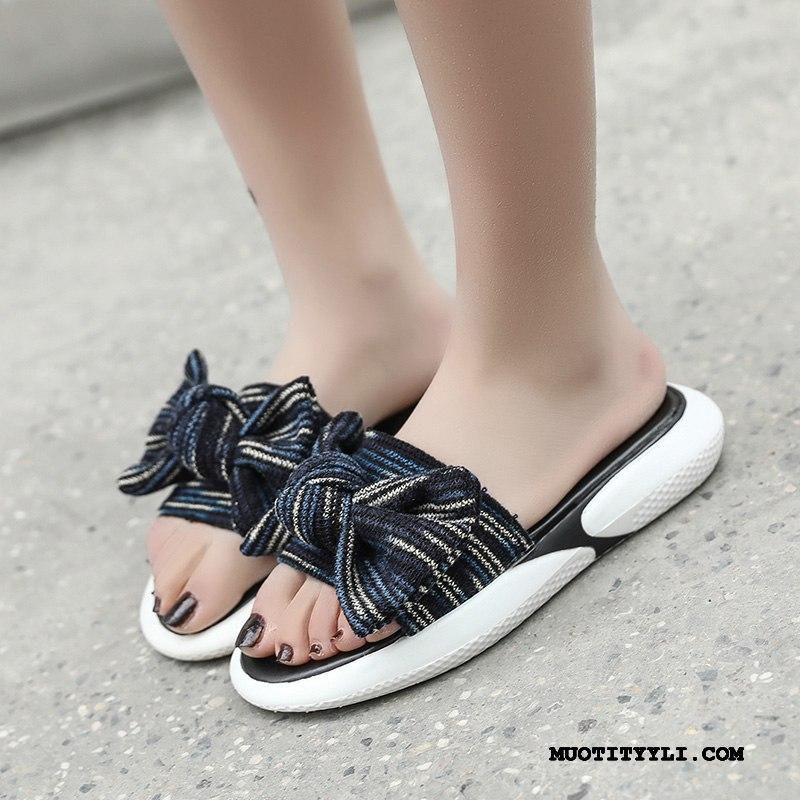 Naisten Tohvelit Verkossa Liukumaton Päällysvaatteet Tasainen Kengät Paksu Pohja Sininen Punainen