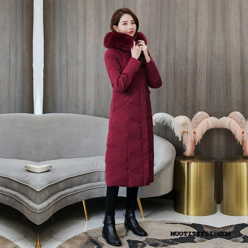 Naisten Untuvatakki Halpa Silkki Syksy Super Paksut Talvi Bourgogne