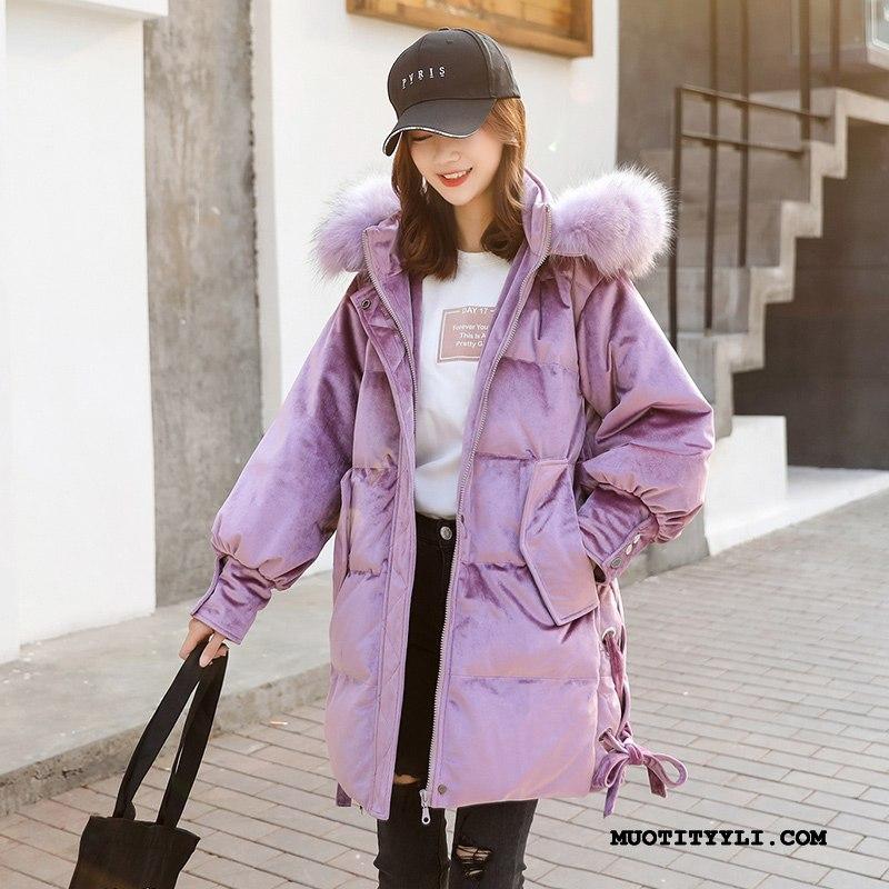 Naisten Untuvatakki Verkossa Tyylikäs 2019 Löysät Uusi Vetoketju Violetti Vaalean